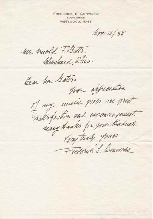 Autograph Note Signed. Frederick S. CONVERSE.