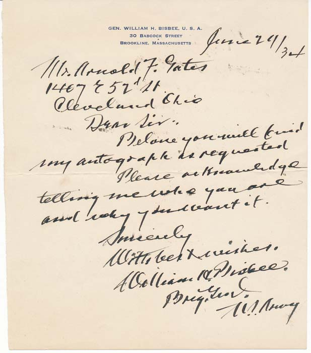 Autograph Note Signed. William H. BISBEE.