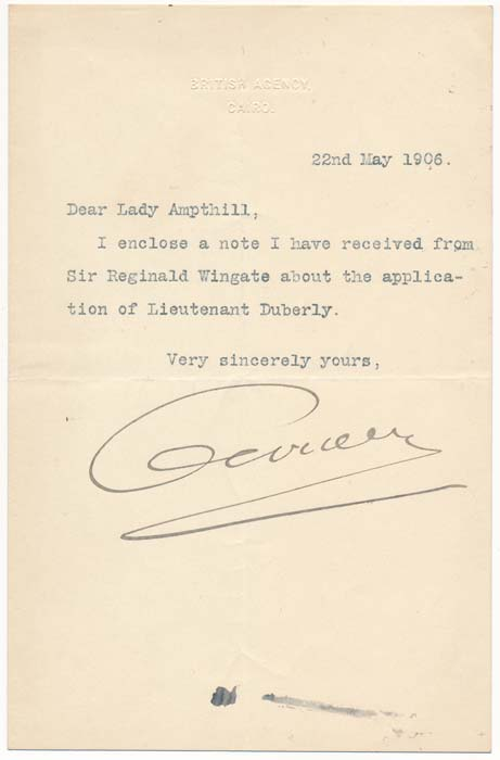 Typed Note Signed. Evelyn BARING, 1st Earl of Cromer.
