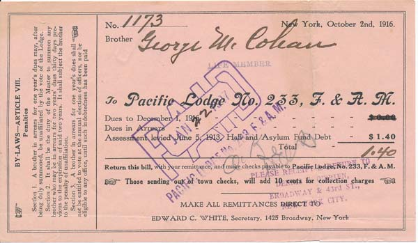 Printed Document Signed. George M. COHAN.