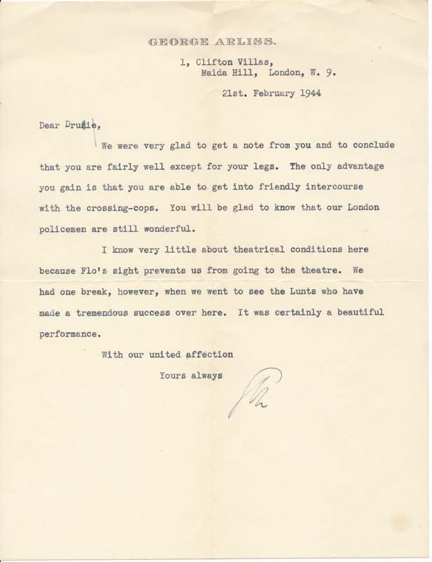 Typed Letter Signed. George ARLISS.