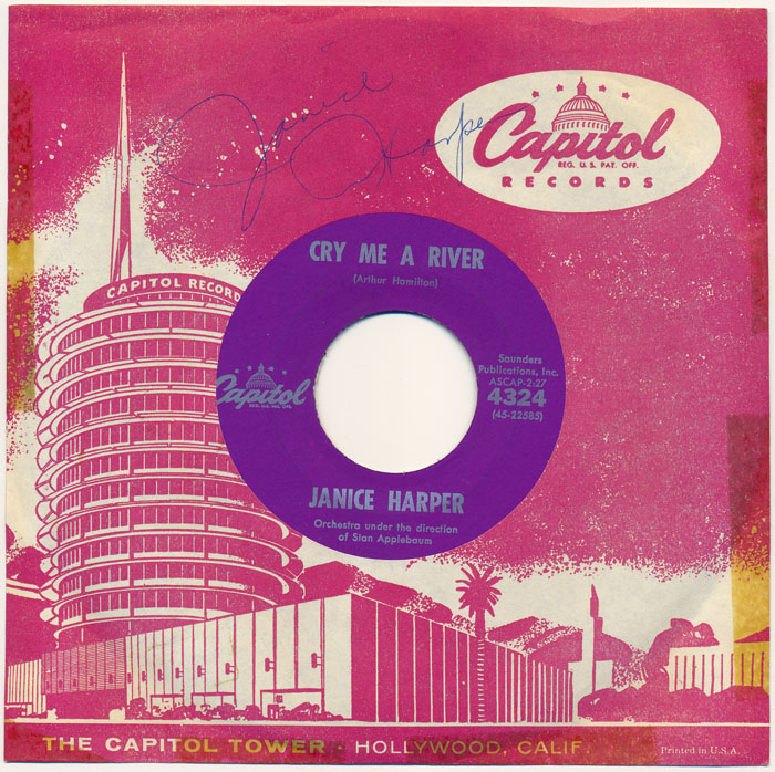 Signed Record Sleeve with 45 RPM Record. Janice HARPER.