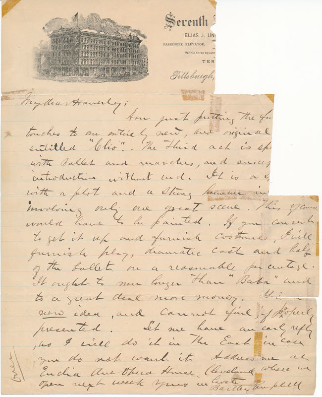 Autograph Letter Signed (partial). Bartley CAMPBELL.