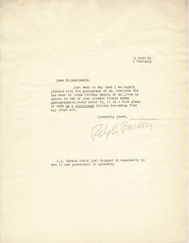 Typed Note Signed. Ralph BARTON.