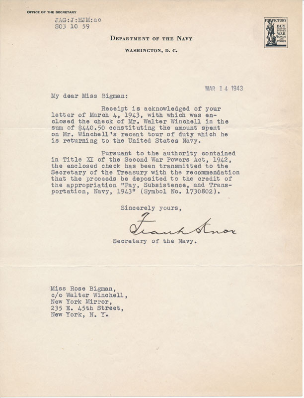 Typed Letter Signed. Frank KNOX.