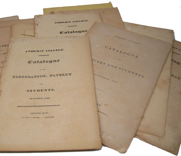 """Collection of 12 """"Catalogue of the Corporation, Faculty and Students."""" MASSACHUSETTS AMHERST COLLEGE."""