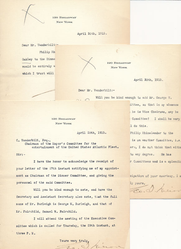 Collection of 7 Typed Letters Signed. EQUITABLE LIFE ASSURANCE SOCIETY OF THE UNITED STATES, George T. WILSON.
