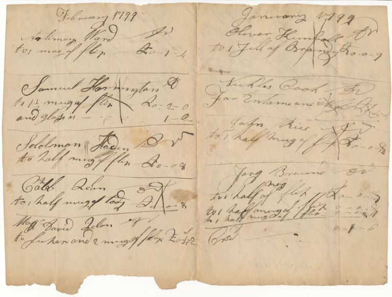 Autograph Document (unsigned). COLONIAL -- BAR TAB.