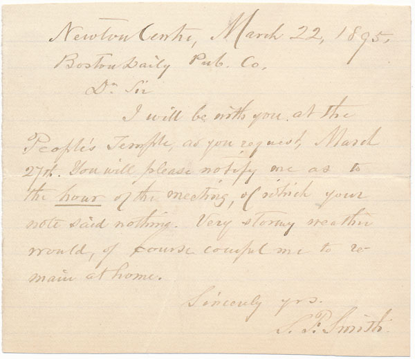 Autograph Note Signed. Samuel Francis SMITH.