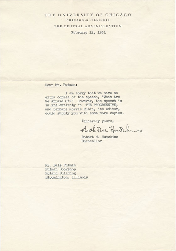 Typed Note Signed. Robert M. HUTCHINS.