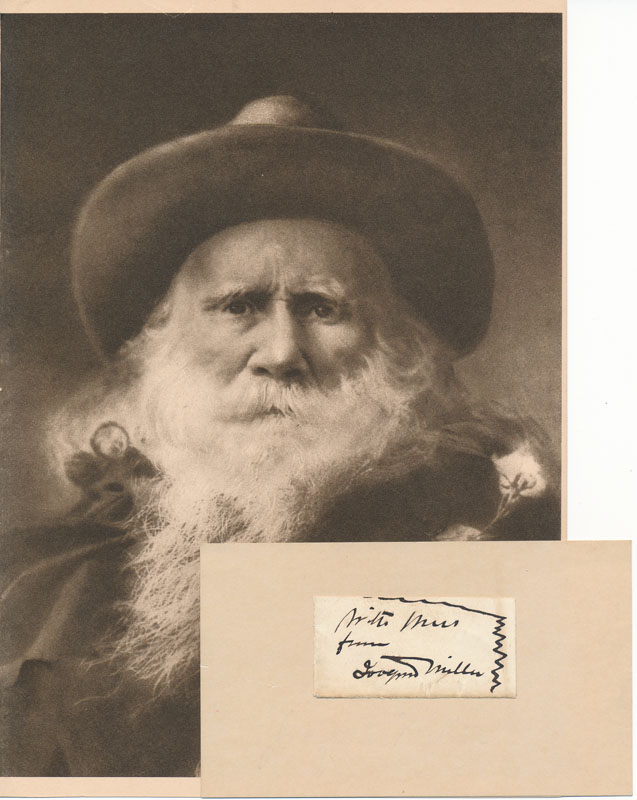 Inscription and Signature / Unsigned Photograph. Joaquin MILLER.