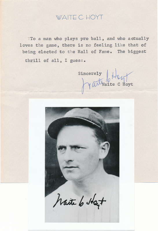Typed Note Signed / Unsigned Photograph. Waite C. HOYT.