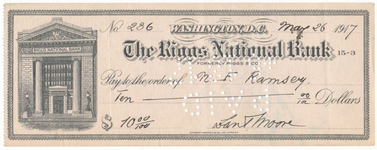 Partly-Printed Autograph Document Signed. Theodore ROOSEVELT, Dan Tyler MOORE.
