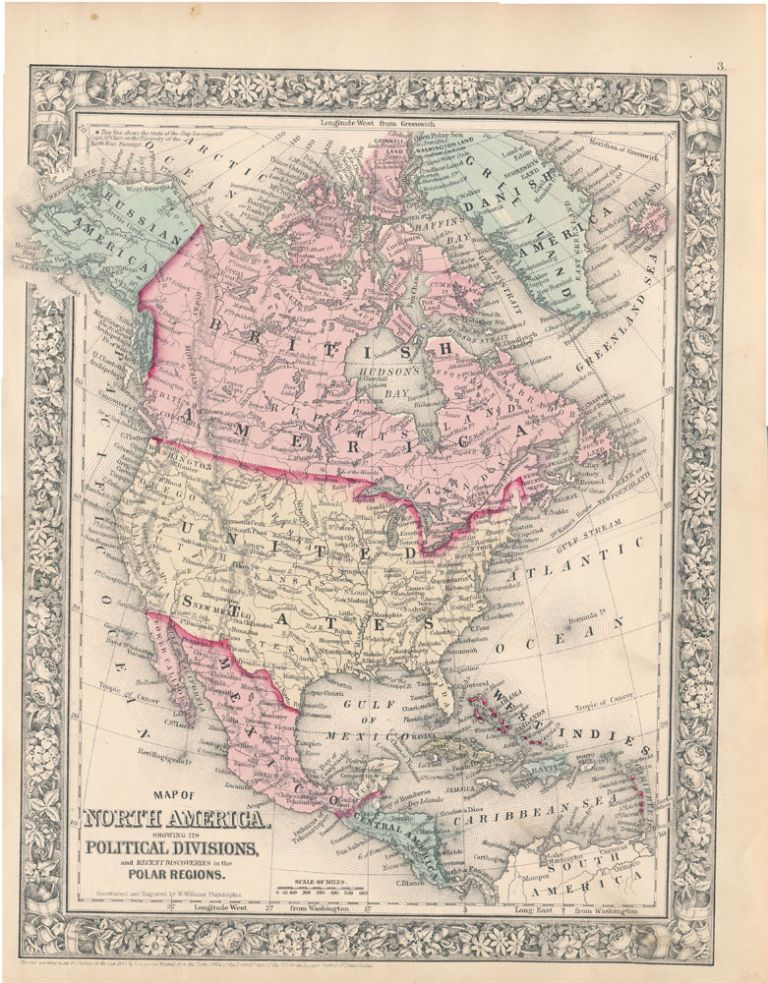 Map of North America Showing Its Political Divisions, and Recent Discoveries in the Polar Regions. NORTH AMERICA -- Map.