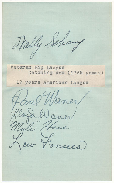 "Signatures on Album Leaf. Lew FONSECA, George ""Mule"" HAAS, Wally SCHANG, Lloyd ""Little Poison"" WANER, Paul ""Big Poison"" WANER."