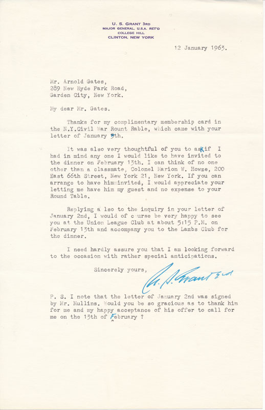 Typed Letter Signed / Autograph Note Signed. Ulysses S. GRANT, III, John C. PEMBERTON, III.