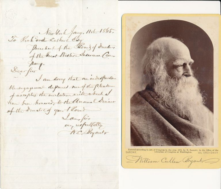 Autograph Letter Signed / Unsigned Cabinet Card. William Cullen BRYANT.