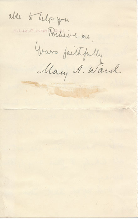 Letter Signed. Mary A. WARD, Mrs. Humphry.