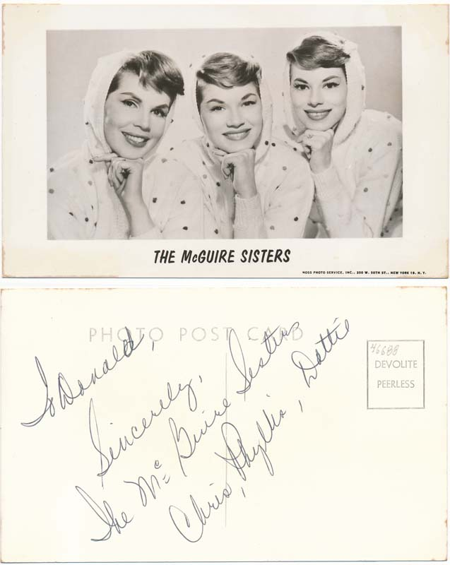 Inscribed Photograph Signed. MCGUIRE SISTERS, Phyllis McGUIRE.