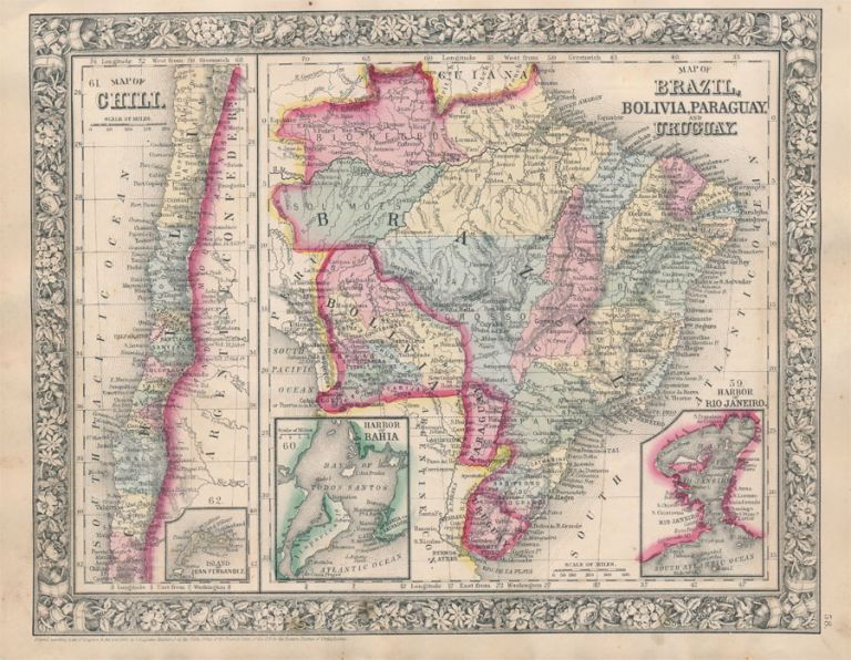 Map of Chili / Map of Brazil, Bolivia, Paraguay, and Uruguay. SOUTH AMERICA -- Map.
