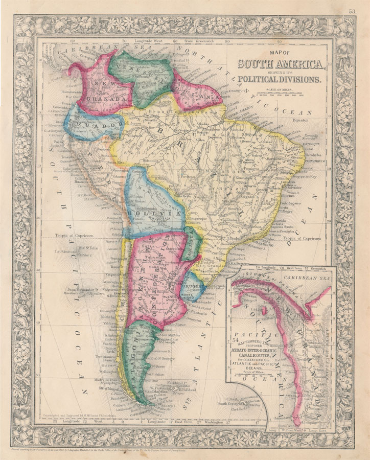 Map of South America, Showing Its Political Divisions. SOUTH AMERICA -- Map.