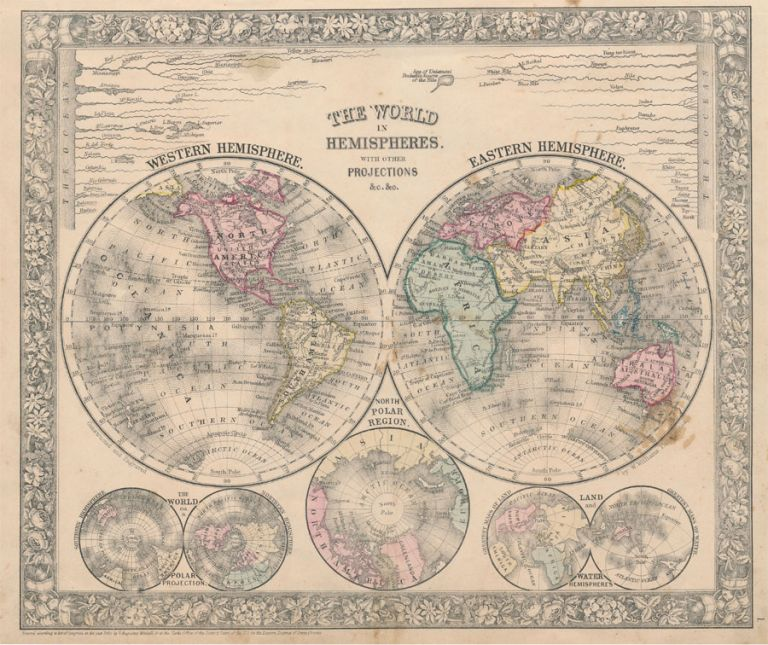 The World in Hemispheres. With Other Projections &c. &c. WORLD MAP.