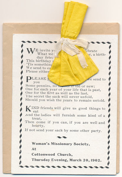Printed Invitation with Cloth Sack. WOMAN'S MISSIONARY SOCIETY.