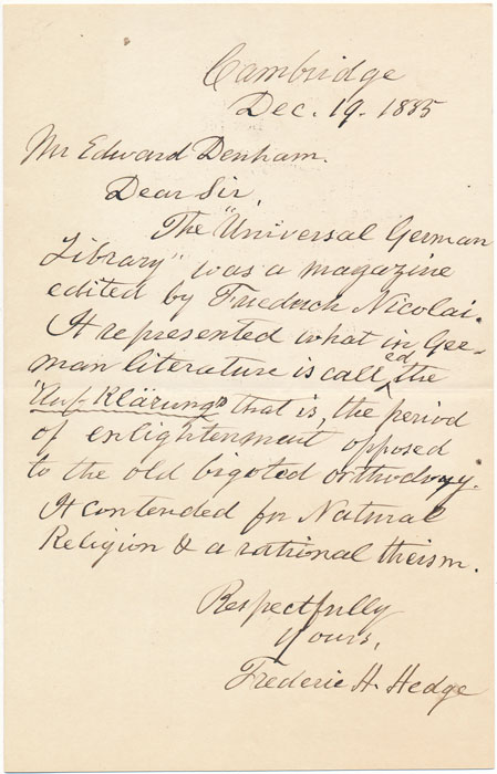 Autograph Letter Signed. Frederic H. HEDGE.