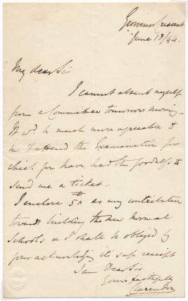 Autograph Letter Signed. George William Frederick Villiers CLARENDON