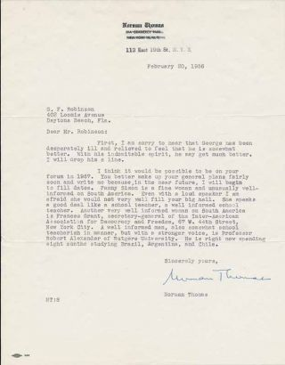 Typed Letter Signed. Norman THOMAS