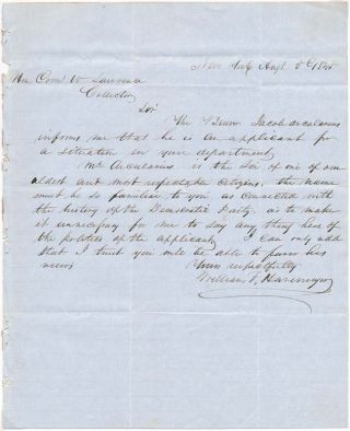Autograph Letter Signed. William F. HAVEMYER