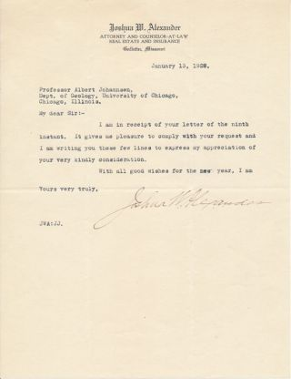 Typed Note Signed. Joshua W. ALEXANDER