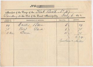 Partly-Printed Autograph Document. NEW ORLEANS -- CARGO MANIFEST