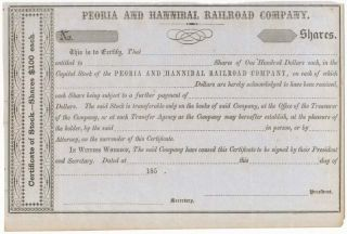 Certificate of Stock... Peoria and Hannibal Railroad Company. PEORIA AND HANNIBAL RAILROAD COMPANY