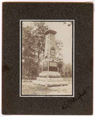 Chickamauga Monument Photograph. A. R. 21st WISCONSIN INFANTRY -- CIVIL WAR -- TILLINGHAST