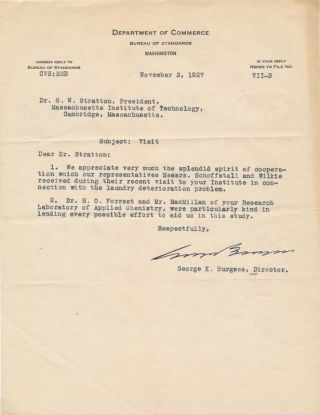Typed Letter Signed. George K. BURGESS