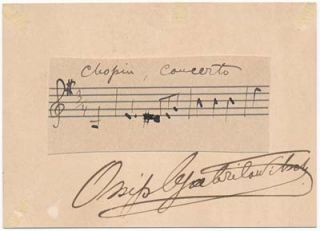 Autograph Musical Quotation Signed. Ossip GABRILOWITSCH