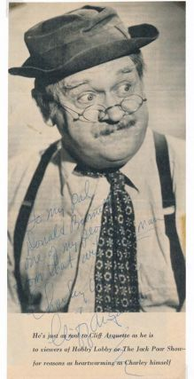 Inscribed Photograph Signed. Cliff ARQUETTE