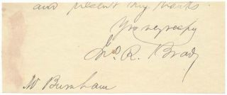Signature and Salutation. John R. BRADY.