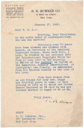 Typed Letter Signed. R. R. BOWKER
