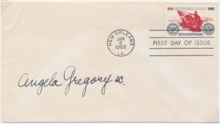 Signed First Day Cover / Autograph Note Signed. Angela GREGORY