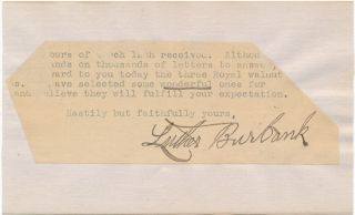 Typed Note Signed. Luther BURBANK