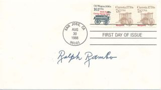 Signed First Day Cover. Ralph RAMBO