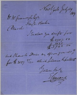 Autograph Letter Signed. Edward CUNARD