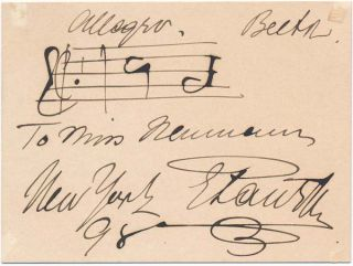 Autograph Musical Quotation Signed. Emil PAUR