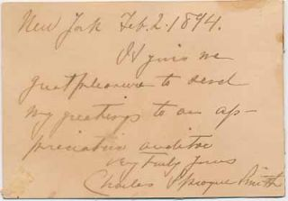 Signature and Inscription. Charles Sprague SMITH