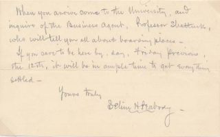 Autograph Note Signed. Selim H. PEABODY