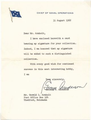 Typed Note Signed. George W. ANDERSON