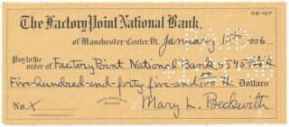 "Partly-Printed Autograph Document Signed. Mary Lincoln ""Peggy"" BECKWITH"