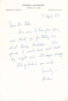 Autograph Note Signed. A. R. AMMONS